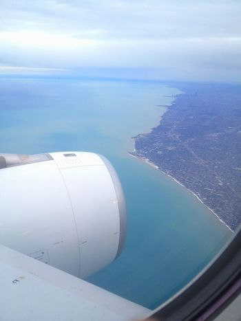 From The Plane Window Chicago Water Beautiful