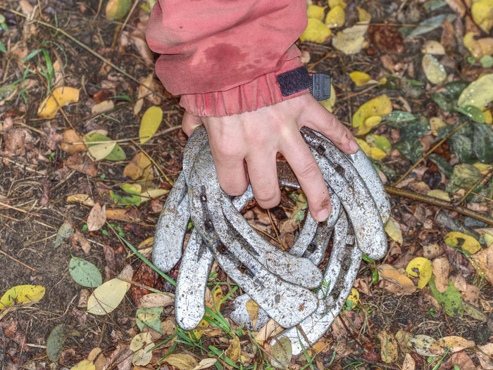 Worn horse shoes on palm of young woman in red jacket. obsolet horseshoes between fallen leaves