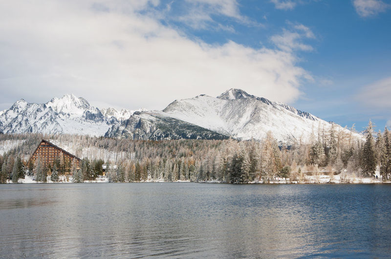 Scenic view of snowcapped mountains by lake against sky