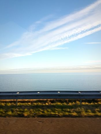 Sea Sky Horizon Over Water Water Day Nature Scenics Outdoors Car Window View Dike North Sea Coast Road Trip Moving Forward  Sunset Glow