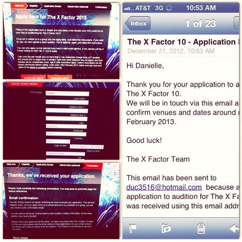 XFactor Audition Form Complete!