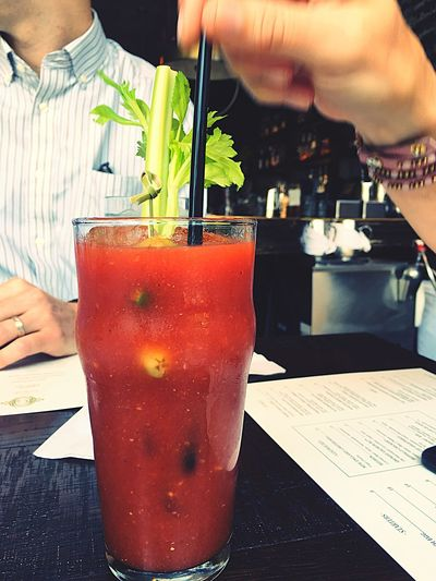Bloody Marys Stirring Drink Straw Restaurant Red Celery
