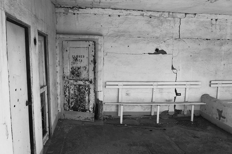 b/w Abandoned Absence Architecture Building Building Exterior Built Structure Concert Damaged Day Deterioration Door Empty Entrance Everything In Its Place Film House Learn & Shoot: Simplicity No People Obsolete Old Run-down Sports Wall Wall - Building Feature Weathered