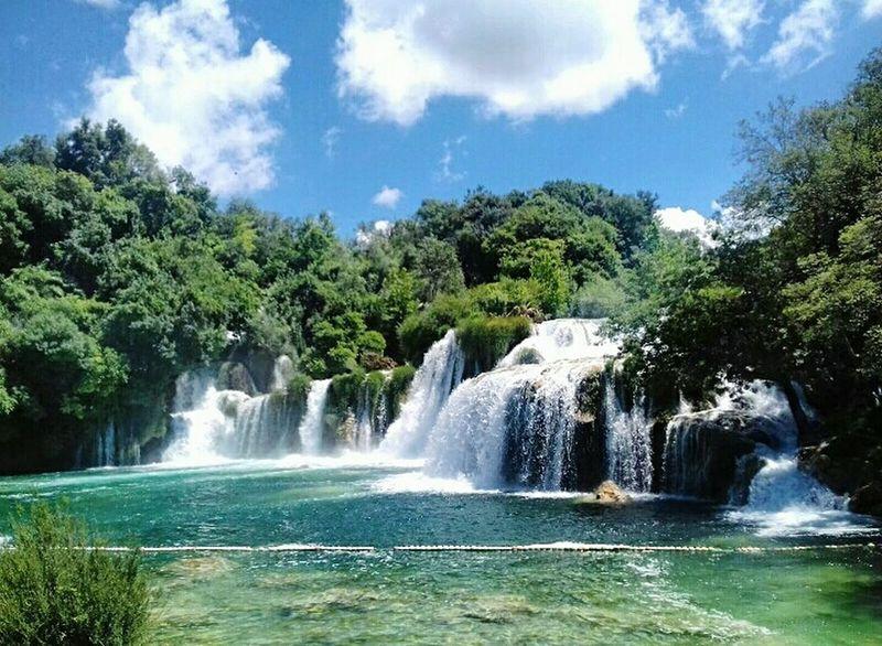 Water Waterfall Nature Splashing Tree Travel Destinations Sky Beauty In Nature Freshness Fountain Hrvatska Croatia Outdoors Nationalpark Krka Krkawaterfalls Krkanationalpark
