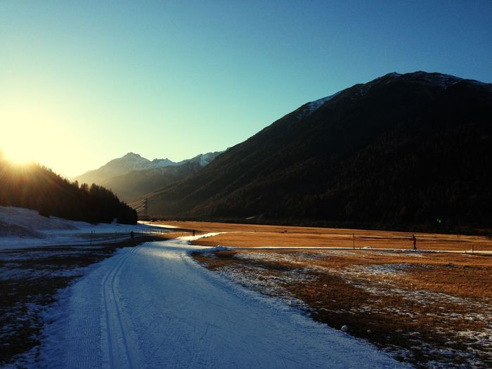 Winter Snow Cold Temperature Mountain Season  Tranquil Scene Clear Sky Road Scenics Landscape Mountain Range Non-urban Scene Tranquility Curve Beauty In Nature Snow Covered Blue Nature Majestic Outdoors
