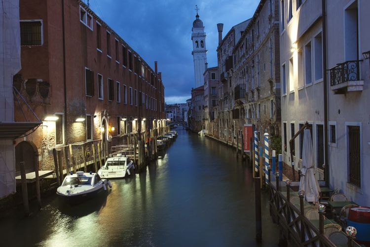 Venice Italy Evening Lights Canal Boats Famous Place Europe Travel Dusk City Architecture Street
