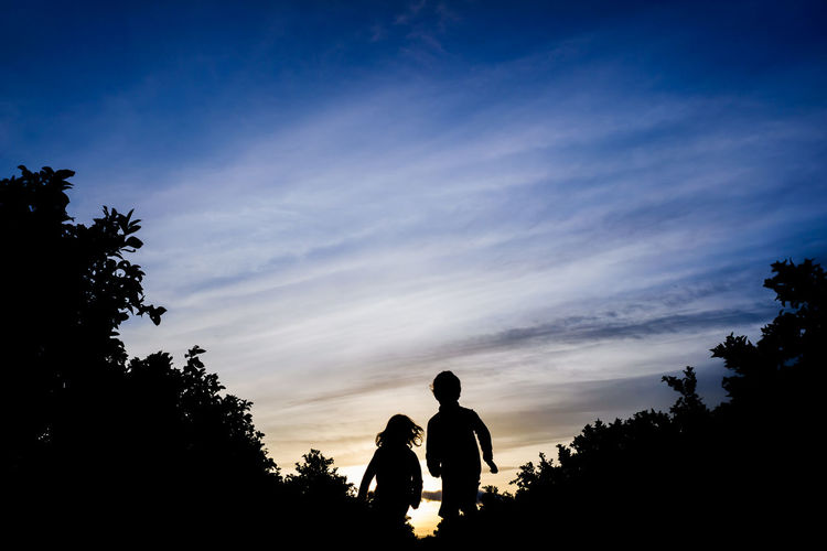 Silhouette kids against sky during sunset
