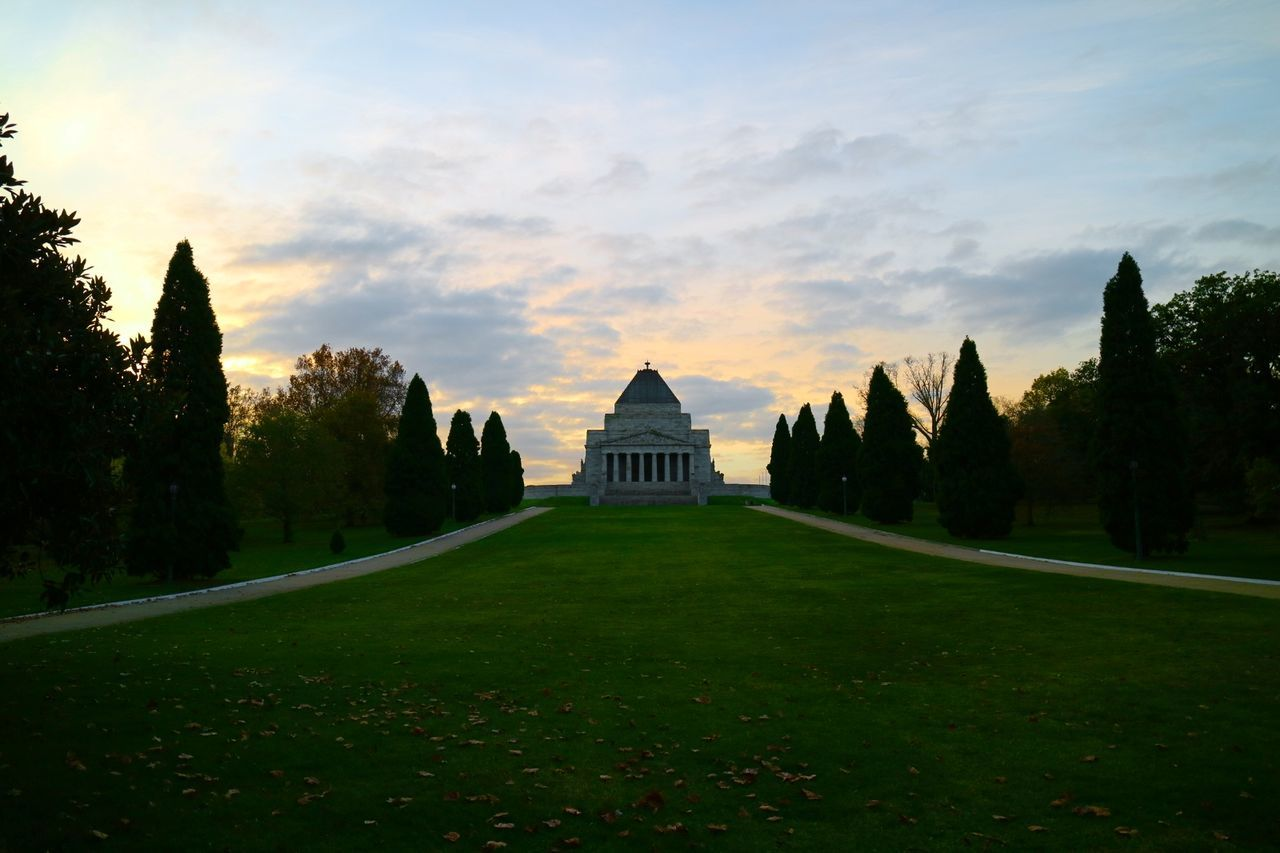 architecture, religion, tree, nature, history, built structure, growth, sky, sunset, no people, beauty in nature, scenics, grass, outdoors, ancient civilization, day
