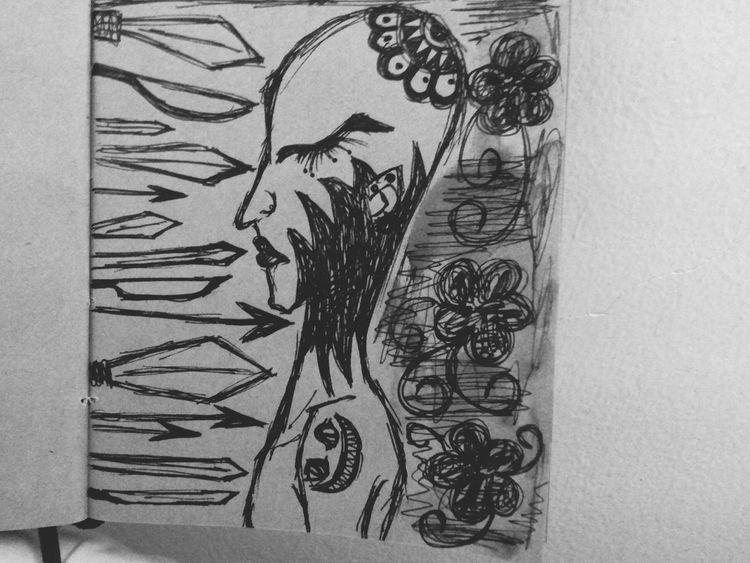 Drawing Girl Sketching Sadness Bored Tatoo Tatoogirl Pen Illustration Picture