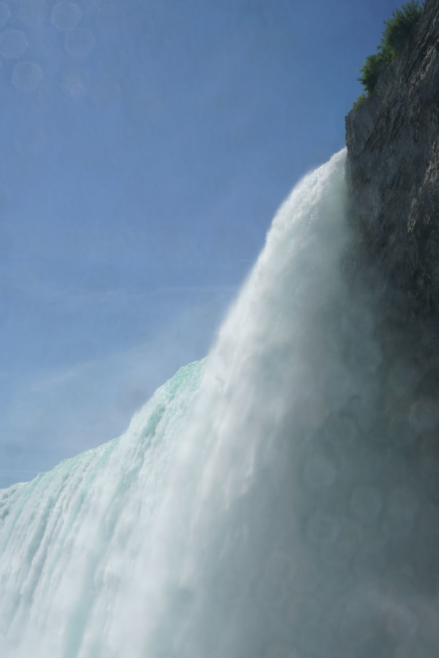 LOW ANGLE VIEW OF WATERFALL ON SEA AGAINST SKY