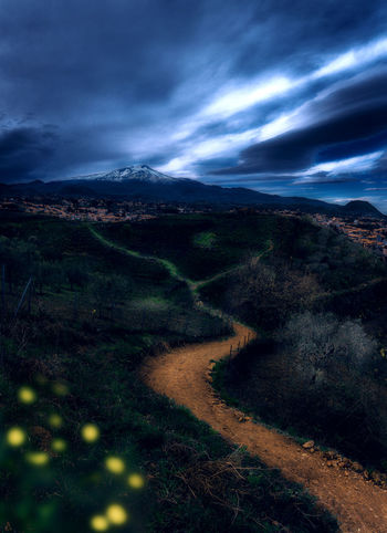 Etna Beauty In Nature Cloud - Sky Environment Land Landscape Mountain Nature No People Non-urban Scene Outdoors Overcast Plant Road Scenics - Nature Sky Storm Storm Cloud Tranquil Scene Tranquility Volcano