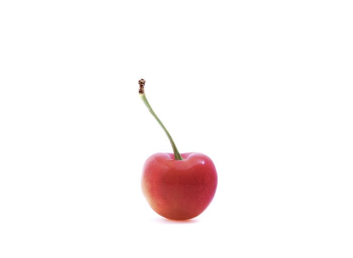 Alone Cherry Red Clean Close-up Copy Space Food Food And Drink Freshness Fruit Healthy Eating No People One Stem Studio Shot Sweet Sweet Food Tasty White Background Yummy Food Stories