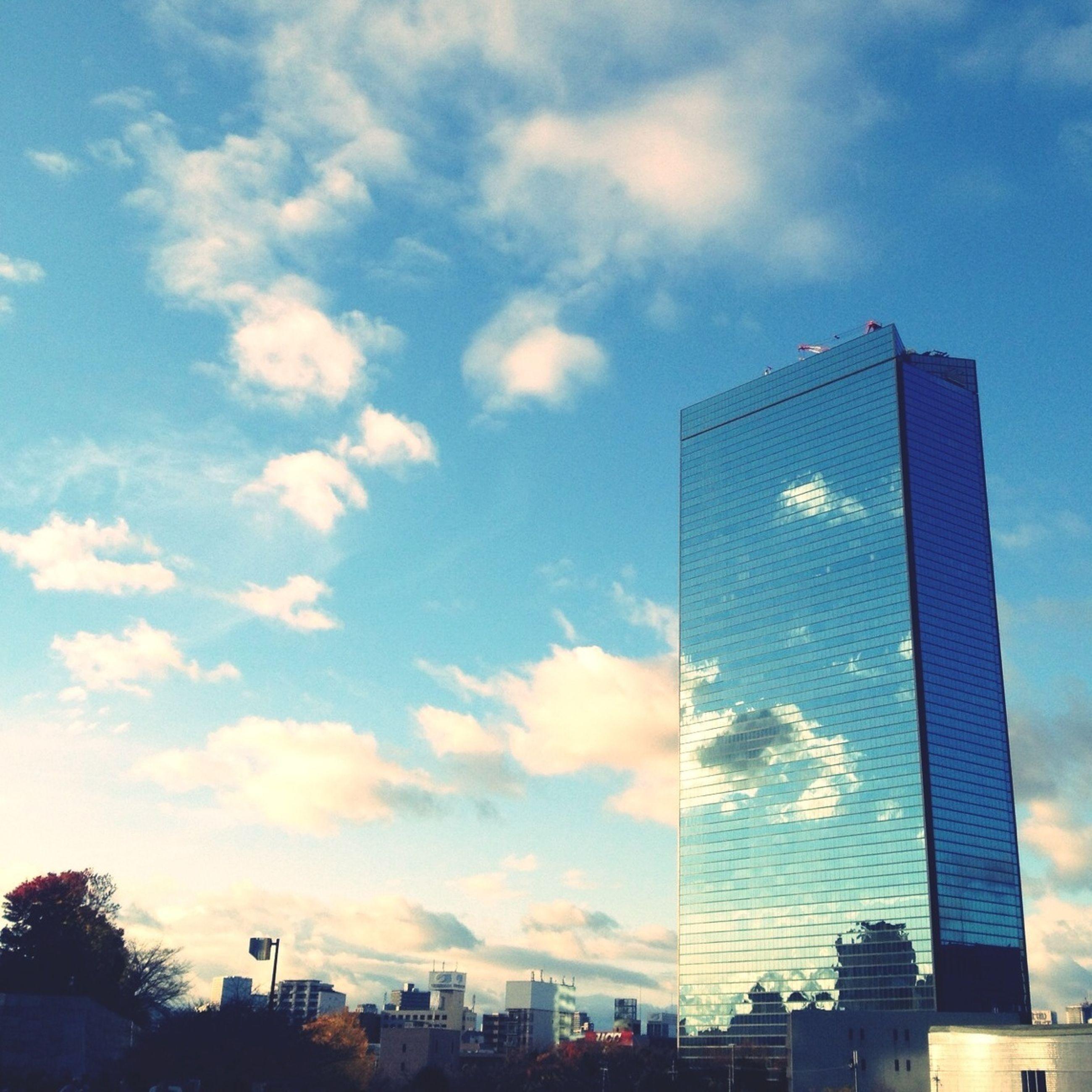 architecture, built structure, building exterior, sky, city, low angle view, skyscraper, cloud - sky, modern, office building, building, cloud, tall - high, sunset, tower, sunlight, silhouette, outdoors, tree, no people