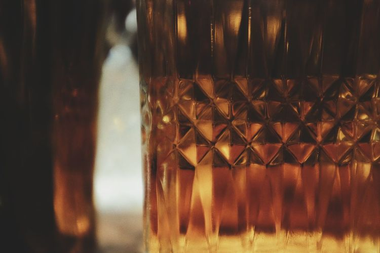 Close-up of beer glass