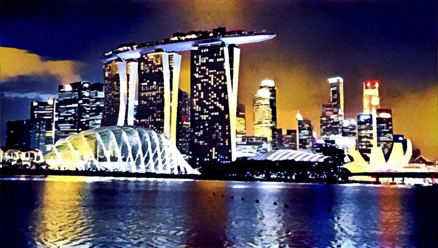 Building Exterior Night Cityscape Outdoors Water