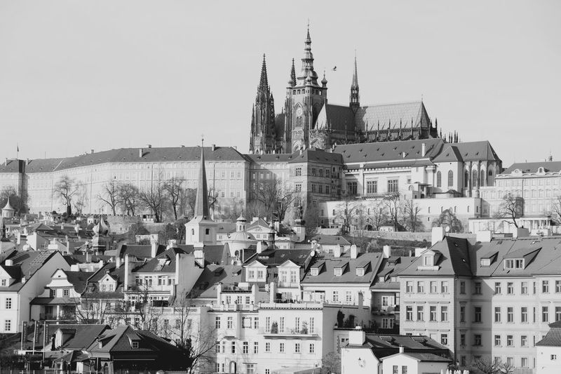 Prague Castle Prague♡ Prague Czech Republic Architecture City Sky Cityscape Town TOWNSCAPE Gothic Style Roof Day Black And White Traveling Tourism Czech Republic Outdoors Building Exterior Clear Sky Little Side Effects Old Town National Icon History Historic Building