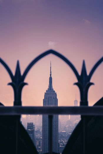 Topoftherock New York City NY Empire State Building Finesteye Built Structure Sky Architecture Building Exterior Fence Barrier No People Travel Destinations Tourism City Sunset Security Metal
