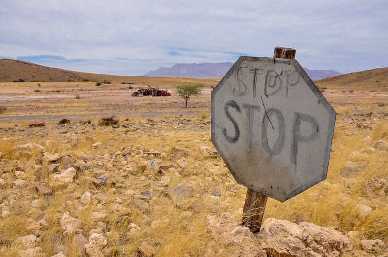 Information sign in the desert
