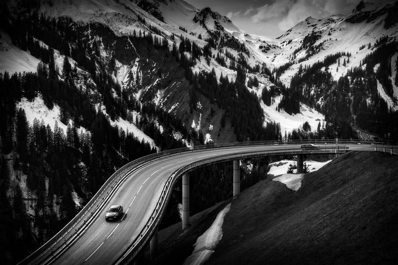 Alps Car Curve Landscape Mountain Mountain Range Road Snow Snow Covered Transportation Winter