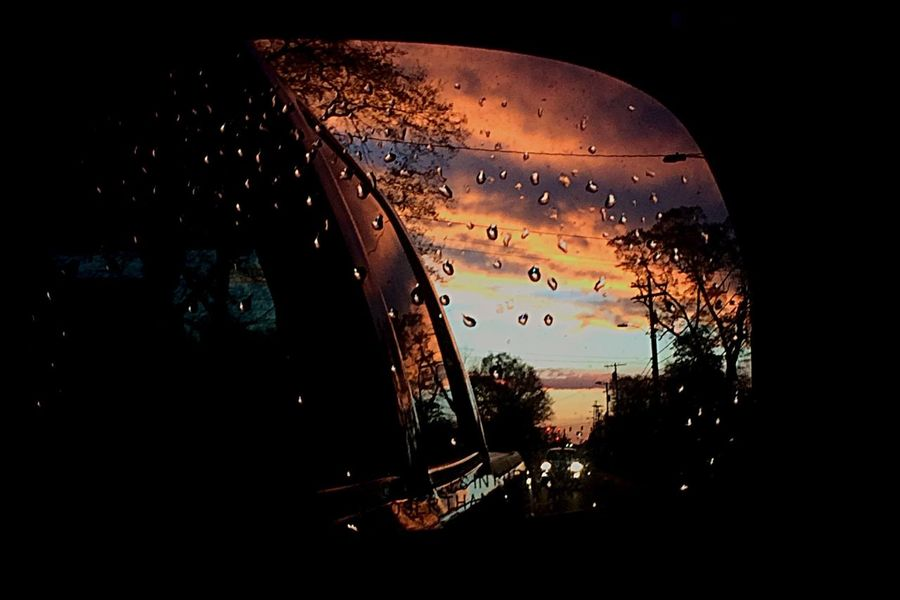 Sunset Sky Window Mirror Reflection Rain No People Close-up Nature RainDrop Water Outdoors Night City Smalltown Beauty In Nature Nature Transportation Review Mirror