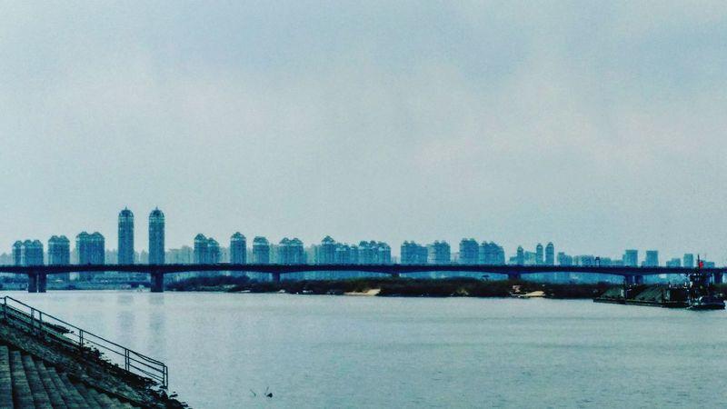 Harbin China River Architecture Urban Bridge Blue Sky Water 中国 哈尔滨 河流 建筑物 城市 桥 蓝 天空 水 중국 할빈 도시 건축물 파란 하늘 물