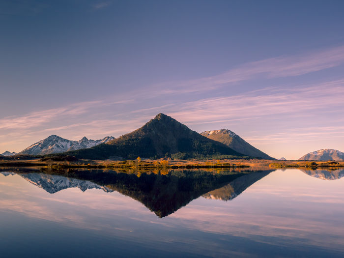 Beauty In Nature Day Idyllic Lake Landscape Mountain Mountain Range Nature No People Norway Outdoors Reflection Reflection Scenics Sky Standing Water Sunset Symmetry The Great Outdoors - 2017 EyeEm Awards Tranquil Scene Tranquility Vesterålen Water Waterfront