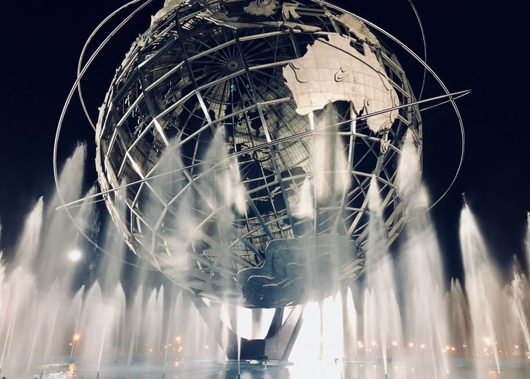 Queensnyc IPhoneography Blackandwhite Queens NYC Arthur Ashe Stadium New York City Globe EyeEm Selects Illuminated Night Fountain Water Architecture Built Structure Light No People Motion Sky Low Angle View Building Exterior Outdoors Long Exposure Arts Culture And Entertainment