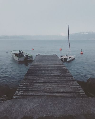 Lake Lakeleman Water Nautical Vessel Pier Tranquil Scene Beauty In Nature Outdoors No People Nature Tranquility Horizon Over Water Mode Of Transport Clear Sky Blue Morning Mountain Stprex Sail Sailboat Powerboat Sommergefühle Let's Go. Together.