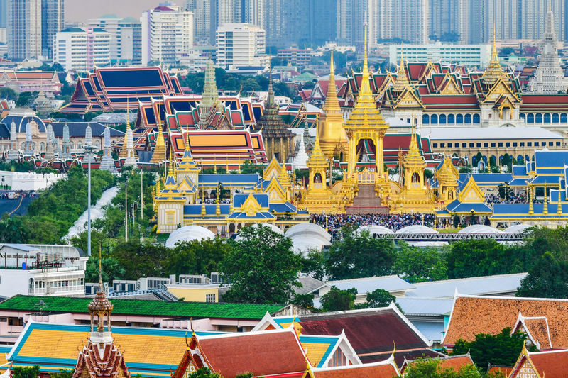 The royal crematorium of King Bhumibol Adulyadej at Sanam Luang,Bangkok,Thailand King Adulyadej Sanam Luang Bangkok Architecture Bhumibol Building Exterior Built Structure City Cityscape Crematorium Day No People Outdoors Royal Sky Travel Destinations Tree Water