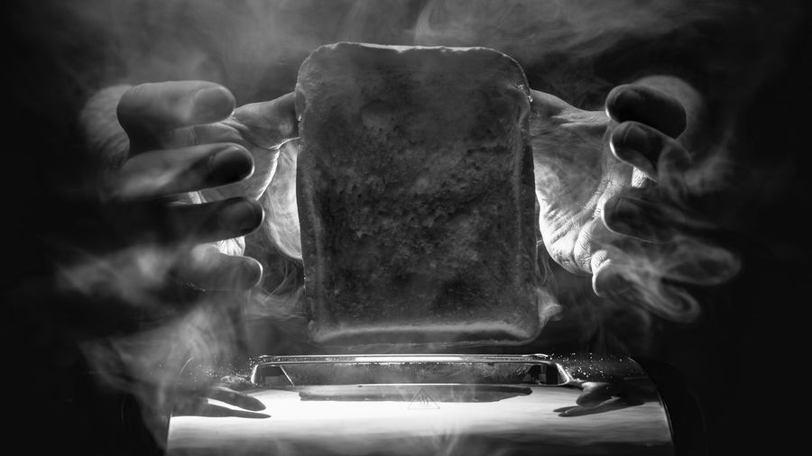 Toast Toaster Surreal Action Toast Fingers Hot Toasty Water Human Hand Close-up Dramatic Dynamic Mysterious Offbeat Artistic Surrealism Gateway Together Future
