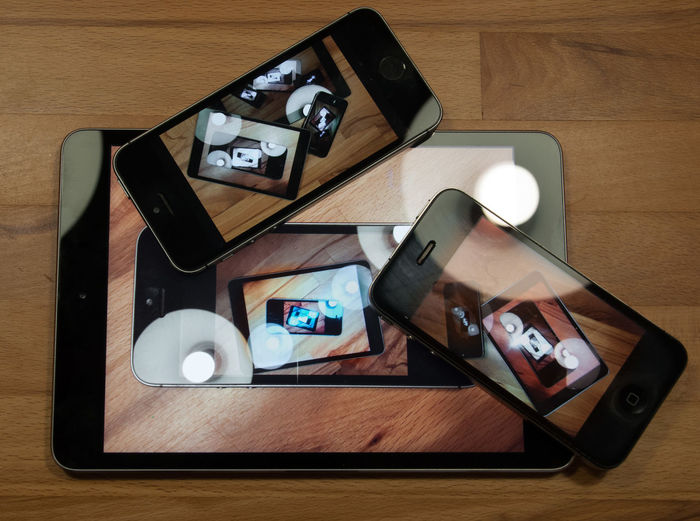Close-up Elevated View Ipad IPhone Looking Through No People Recursion Reflection Reflections Still Life Table Wood - Material