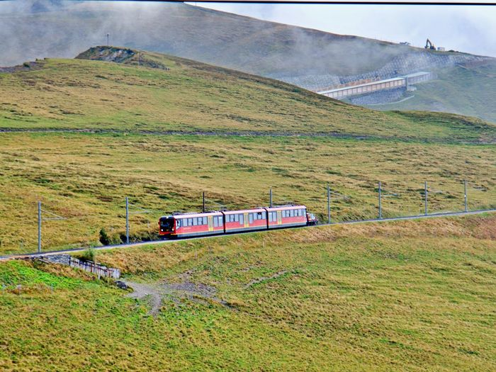 Train passing through land