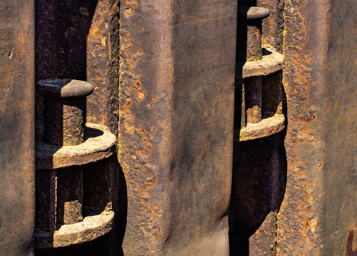 Close-up Old Sheet Pile Wall Harbour Outdoors Day Bollard Damaged No People Weathered Metal Rusty Rusty Metal