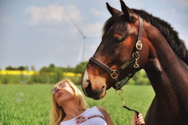 Live For The Story Horse Domestic Animals Day Leisure Activity Outdoors Togetherness Women Nature Mammal Standing Real People Grass Sky Blond Hair Young Adult Horse Photography  Holsteiner Nature Bursting Bubbles Happiness Summer Naturelovers Horses Young Women