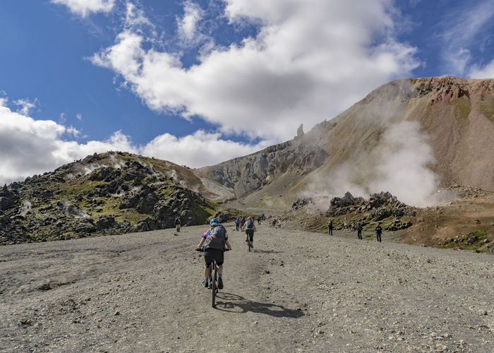 Iceland Adventure Bicycle Cycling Destination Fumarole Geology Geyser Landscape Leisure Activity Lifestyles Motion Mountain Mountain Bike Nature Outdoors Real People Remote Riding Sky Steam Train Train Travel Travel Destinations Vent