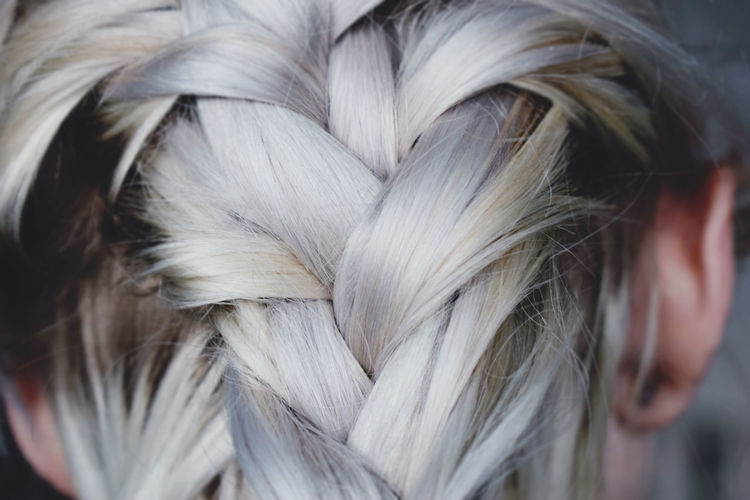 Animal Themes Blonde Braids Close-up Day Domestic Animals Mammal One Person Outdoors People Pets Real People Woman