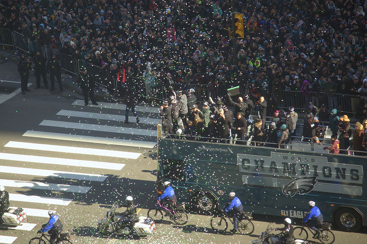 Eagles Superbowl parade Philadelphia Philadelphia Eagles Philadelphia Eagles Parade Real People Crowd Lifestyles Outdoors Men Confetti Togetherness