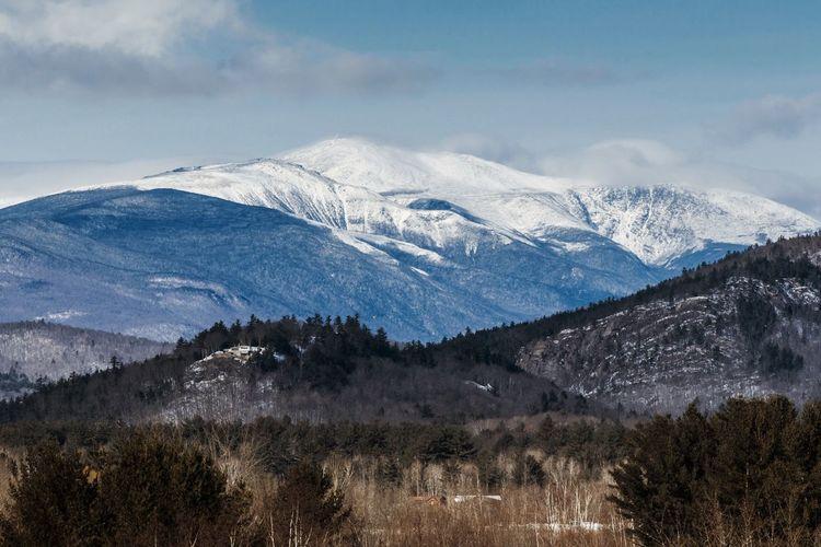 Mount Washington in January. White Mountains Mount Washington  Winter Snow Forrest New Hampshire NH