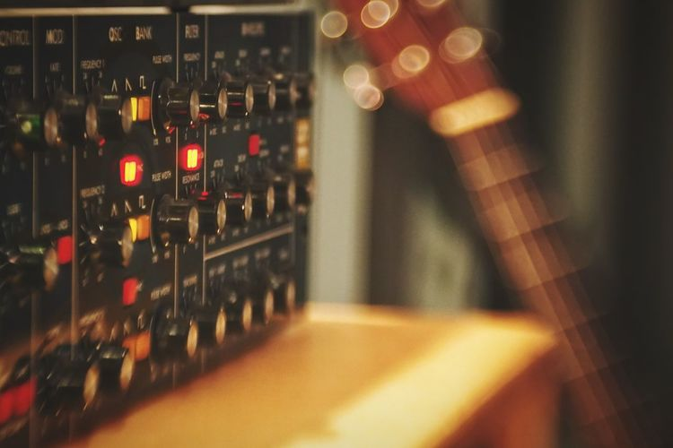 Indoors  Lens Flare Focus On Foreground Interior Synthesizer Moog Guitar Recording Recording Studio Electronic Music Multi Colored Lensbaby
