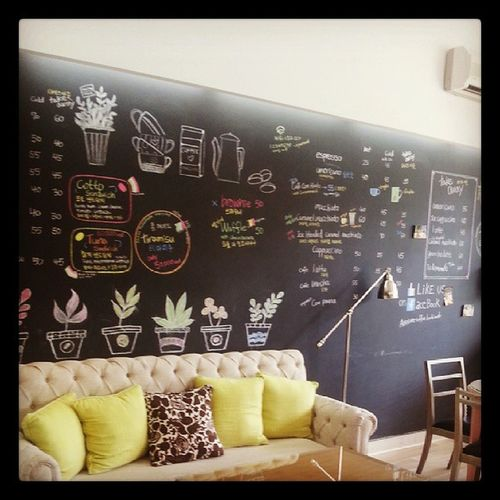 Morning Coffeeshop Decoration Interior Sofa Blackboard  Chalk Pillow Vietnam