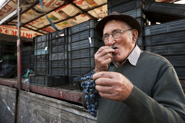 Grape seller Agriculture Autumn Berry Blue Grapes Eating Farm Market Fruit Fresh Seller Man Outdoors People Documentary Wine Tasty Travel Sweet Serbia Rural Snap a Stranger Enjoy The New Normal