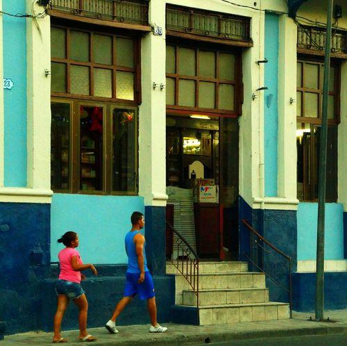 Pink against blue Blue, Caribian City Life Colorful Cuba People, People,street Pink, Santiago De Cuba Street Photography