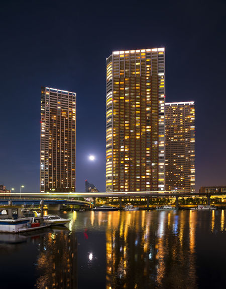 Architecture Boats Building Canal City City Life Cityscape Deep Night Moon Skyscraper Tower Waterfront