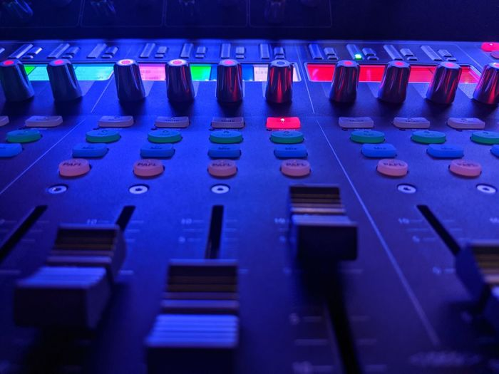 Close-up of illuminated sound mixer