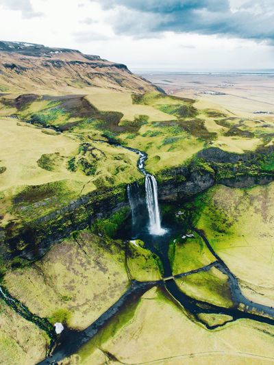 Iceland from above. Water Scenics - Nature Beauty In Nature Sky Nature Cloud - Sky Environment Day Green Color High Angle View Land Plant Sunlight Non-urban Scene Idyllic No People Landscape Tranquil Scene Tranquility Outdoors