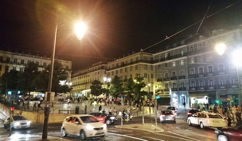 Portugal Lissabon Lisboa Night Car Architecture Street Outdoors City City Life Nightlife