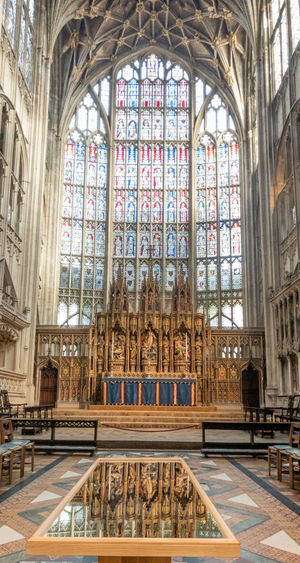 Architecture Religion Place Of Worship Window Spirituality Stained Glass Arch No People Gothic Style Cathedral Gloucester Cathedral Medieval Indoors  Historical Building