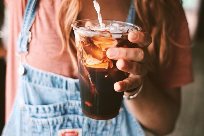 Woman Making Iced Coffee