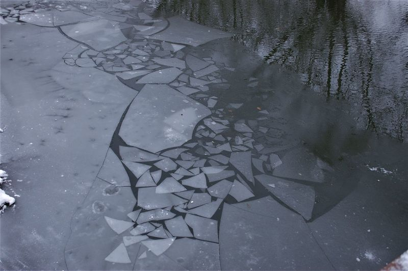 Beauty In Nature Brookside, Cambridge Environment Frozen Ice Outdoors Patterns In Nature Water Winter