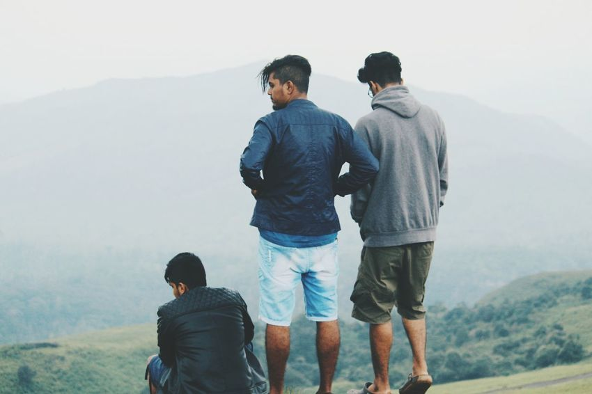 Friendship Togetherness Fog Mountain Day Outdoors Lifestyles Nature People Leisure Activity Trekking Bonding Euphoria Men Love First Eyeem Photo
